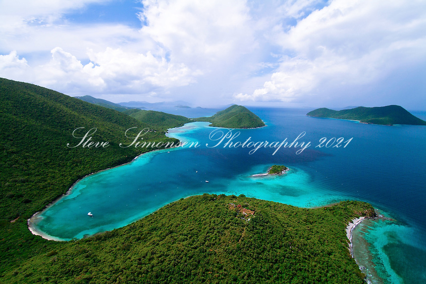 Aerial View of Leinster Bay, Waterlemon Cay and Mary Creek in the Virgin Islands National Park.<br /> St. John, US Virgin Islands