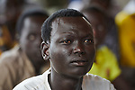 A student in an English class in the Arrupe Learning Center, run by Jesuit Refugee Service in Bunj, South Sudan. Participants come from four refugee camps in Maban County that together shelter more than 130,000 refugees from the Blue Nile region of Sudan, along with local residents from the host community.<br /> <br /> Misean Cara provides support for the work of Jesuit Refugee Service in Maban.