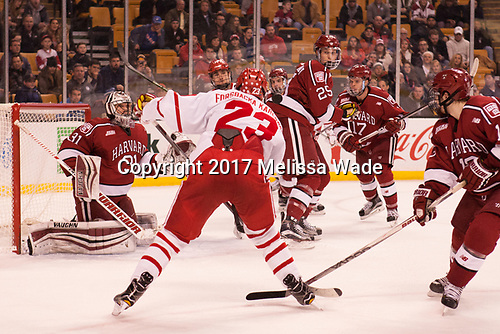 Merrick Madsen (Harvard - 31), Jakob Forsbacka Karlsson (BU - 23), Bobo Carpenter (BU - 14), Clay Anderson (Harvard - 5), Wiley Sherman (Harvard - 25), Sean Malone (Harvard - 17), Nathan Krusko (Harvard - 13) - The Harvard University Crimson defeated the Boston University Terriers 6-3 (EN) to win the 2017 Beanpot on Monday, February 13, 2017, at TD Garden in Boston, Massachusetts.