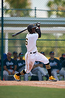 GCL Pirates Deion Walker (6) bats during a Gulf Coast League game against the GCL Braves on July 30, 2019 at Pirate City in Bradenton, Florida.  GCL Braves defeated the GCL Pirates 10-4.  (Mike Janes/Four Seam Images)