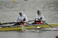 Poznan, POLAND.  2006, FISA, Rowing, World Cup, EGY LW2X  bow Ola AHMEND and Manal MAHOUD, move  away from  the  start, on the Malta  Lake. Regatta Course, Poznan, Thurs. 15.05.2006. © Peter Spurrier   .[Mandatory Credit Peter Spurrier/ Intersport Images] Rowing Course:Malta Rowing Course, Poznan, POLAND