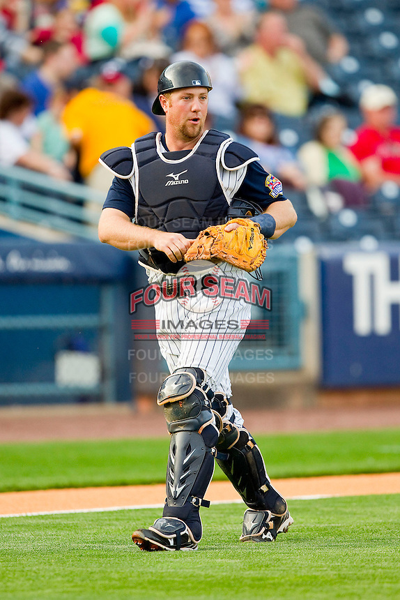 Toledo Mudhens catcher Bryan Holaday (16) on defense against the Charlotte Knights at 5/3 Field on May 3, 2013 in Toledo, Ohio.  The Knights defeated the Mudhens 10-2.  (Brian Westerholt/Four Seam Images)