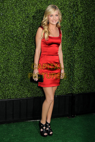 BRITTANY ROBERTSON.CBS Summer Press Tour Party 2010 held at The Tent, Beverly Hills, California, USA..July 28th, 2010.full length red silk satin dangling black clutch bag straps sandals peep toe ankle  .CAP/ADM/BP.©Byron Purvis/AdMedia/Capital Pictures.