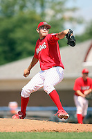 September 1 2008:  Pitcher Ramon Delgado of the Batavia Muckdogs, Class-A affiliate of the St. Louis Cardinals, during a game at Dwyer Stadium in Batavia, NY.  Photo by:  Mike Janes/Four Seam Images