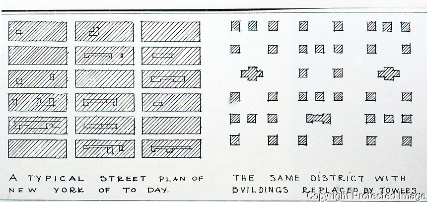 """Raymond Hood:  City of Towers Plan, 1927. """" Proposal for the solution of N.Y.'s problem of overcrowding.""""  Koolhaas, p. 138."""
