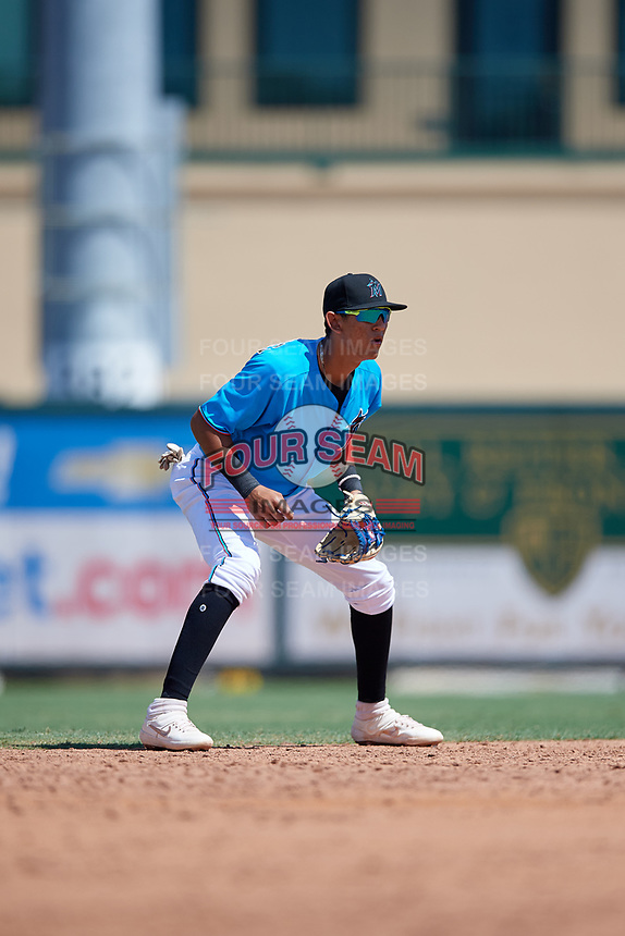 Miami Marlins shortstop Cristhian Rodriguez (76) during an Instructional League game against the Washington Nationals on September 25, 2019 at Roger Dean Chevrolet Stadium in Jupiter, Florida.  (Mike Janes/Four Seam Images)
