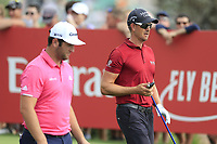 Jon Rahm (ESP) and Henrik Stenson (SWE) on the 10th fairway during the 3rd round of the DP World Tour Championship, Jumeirah Golf Estates, Dubai, United Arab Emirates. 17/11/2018<br /> Picture: Golffile | Fran Caffrey<br /> <br /> <br /> All photo usage must carry mandatory copyright credit (© Golffile | Fran Caffrey)