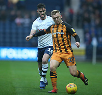 Hull City's Jarrod Bowen shields the ball from Preston North End's Andrew Hughes<br /> <br /> Photographer Stephen White/CameraSport<br /> <br /> The EFL Sky Bet Championship - Preston North End v Hull City - Wednesday 26th December 2018 - Deepdale Stadium - Preston<br /> <br /> World Copyright &copy; 2018 CameraSport. All rights reserved. 43 Linden Ave. Countesthorpe. Leicester. England. LE8 5PG - Tel: +44 (0) 116 277 4147 - admin@camerasport.com - www.camerasport.com