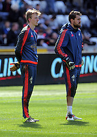 Kristoffer Nordfeldt and Lewis Thomas warm up before the Barclays Premier League match between Swansea City and Chelsea at the Liberty Stadium, Swansea on April 9th 2016