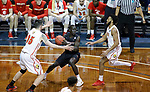 SIOUX FALLS, SD: MARCH 20: Sunday Dech #25 from Barry University looks for a teammate while being guarded by Zach Hankins #35 from Ferris State during their game at the 2018 Division II Men's Elite 8 Basketball Championship at the Sanford Pentagon in Sioux Falls, S.D. (Photo by Dick Carlson/Inertia)