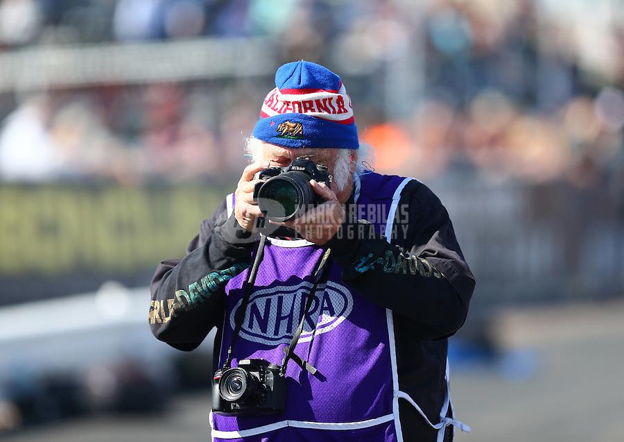 Feb 24, 2017; Chandler, AZ, USA; NHRA photographer Tim Marshall during qualifying for the Arizona Nationals at Wild Horse Pass Motorsports Park. Mandatory Credit: Mark J. Rebilas-USA TODAY Sports