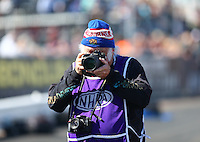 Feb 24, 2017; Chandler, AZ, USA; NHRA photographer Tim Marshall during qualifying for the Arizona Nationals at Wild Horse Pass Motorsports Park. Mandatory Credit: Mark J. Rebilas-USA TODAY Sports