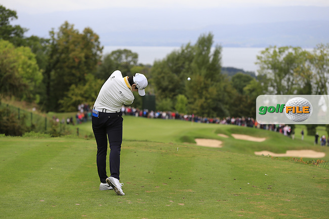 Sung Hyun Park (KOR) tees off the 14th tee during Saturday's Round 3 of The 2016 Evian Championship held at Evian Resort Golf Club, Evian-les-Bains, France. 17th September 2016.<br /> Picture: Eoin Clarke | Golffile<br /> <br /> <br /> All photos usage must carry mandatory copyright credit (&copy; Golffile | Eoin Clarke)