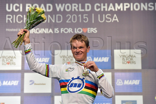 23.09.2015. Richmond, Virginia, USA. World Championship Cycling, Mens Elite time trials.  Gold medal winner Vasil Kiryienka of Belarus pictured during the podium ceremony of the individual Time Trial Elite men at the UCI Road World Cycling Championships in Richmond, United States of America