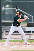 Oakland Athletics designated hitter Kevin Merrell (4) at bat during an exhibition game against Team Italy at Lew Wolff Training Complex on October 3, 2018 in Mesa, Arizona. (Zachary Lucy/Four Seam Images)