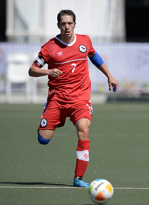 Toronto, ON - Aug 9 2015 -  Dustin Hodgson during Canada vs United States in First Round Football 7-a-side at the Parapan Am Fields during the Toronto 2015 Parapan American Games  (Photo: Matthew Murnaghan/Canadian Paralympic Committee)