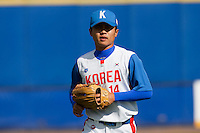 14 September 2009: Left fielder Hun-Gon Kim of South Korea is seen during the 2009 Baseball World Cup Group F second round match game won 15-5 by South Korea over Great Britain, in the Dutch city of Amsterdan, Netherlands.