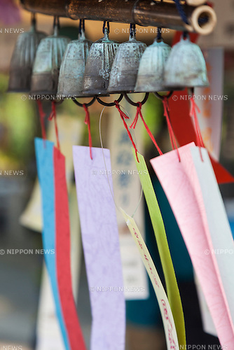 Japanese wind chimes (Fuurin) on display during the annual ''Fuurin Matsuri'' festival on July 11, 2015, in Tokyo, Japan. The festival is held at Nishiarai Daishi temple in Adachi ward, which displays a variety of colorful Japanese wind chimes from July 11 to August 2. (Photo by Rodrigo Reyes Marin/AFLO)