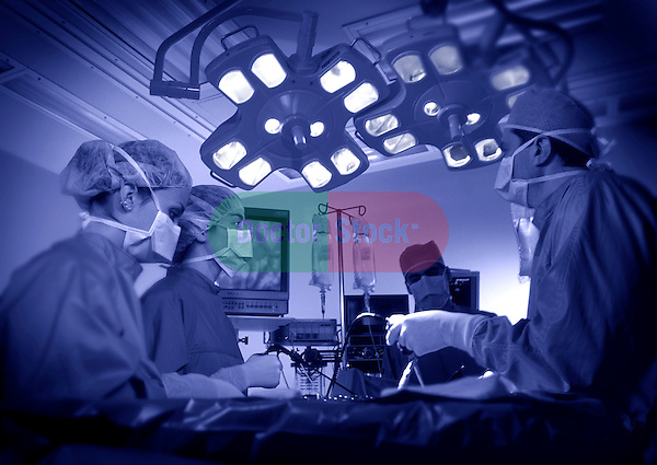 surgical team gathered around operating table, purple duotone