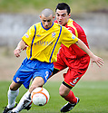 COWDENBEATH'S LIAM CUSACK TRIES TO GET AWAY FROM  ALBION'S SIMON MARRIOT