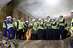 Prince Felipe of Spain with the Minister of Public Works Ana Pastor (r) and the President of Madrid Region Ignacio Gonzalez (l) during the visit to the works of extension of subway line 9 Madrid.March 6,2013. (ALTERPHOTOS/Acero)