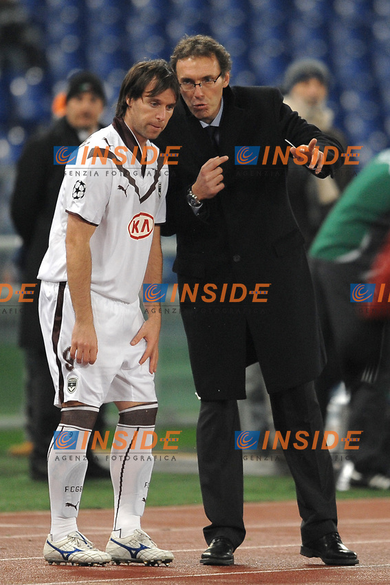 Bordeaux Coach Laurent Blanc and Fernando Cavenaghi<br /> L'allenatore del Bordeaux Laurent Blanc e Fernando Cavenaghi<br /> Roma 9/12/2008 Stadio &quot;Olimpico&quot; <br /> Champions League 2008/2009 <br /> Roma Bordeaux (2-0)<br /> Foto Andrea Staccioli Insidefoto