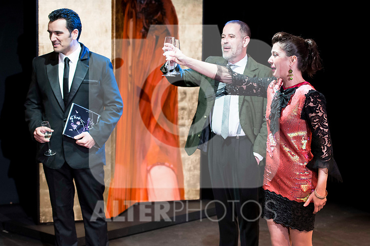 "Fran Calvo, Orancio Ortega and Noemi Rodriguez during the theater play of ""Addio del Passato"" at Fernan Gomez Theater in Madrid. March 15, 2017. (ALTERPHOTOS/Borja B.Hojas)"
