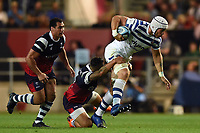 Dave Attwood of Bath Rugby takes on the Bristol defence. Gallagher Premiership match, between Bristol Bears and Bath Rugby on August 31, 2018 at Ashton Gate Stadium in Bristol, England. Photo by: Patrick Khachfe / Onside Images