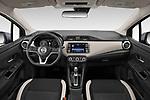 Stock photo of straight dashboard view of a 2020 Nissan Versa SV 4 Door Sedan