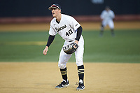Wake Forest Demon Deacons first baseman Cole McNamee (40) on defense against the Sacred Heart Pioneers at David F. Couch Ballpark on February 15, 2019 in  Winston-Salem, North Carolina.  The Demon Deacons defeated the Pioneers 14-1. (Brian Westerholt/Four Seam Images)
