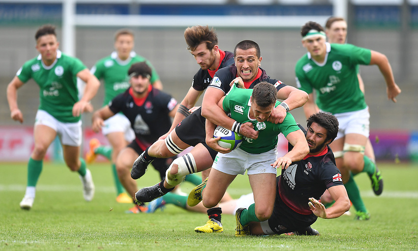Ireland's Paul Kiernan is brought down<br /> <br /> Photographer Dave Howarth/CameraSport<br /> <br /> International Rugby Union - U20 World Rugby Championships 2016 - Pool B - Match 17 - Pool A Ireland U20 v Georgia U20 - Wednesday 15th June 2016 - Manchester City Academy Stadium - Manchester<br /> <br /> World Copyright &copy; 2016 CameraSport. All rights reserved. 43 Linden Ave. Countesthorpe. Leicester. England. LE8 5PG - Tel: +44 (0) 116 277 4147 - admin@camerasport.com - www.camerasport.com<br /> <br /> Photographer Stephen White/CameraSport<br /> <br /> International Rugby Union - U20 World Rugby Championships 2016 - Pool C France U20 v Argentina U20 - Match 1 - Tuesday 07th June 2016 - AJ Bell Stadium - Salford - England<br /> <br /> World Copyright &copy; 2016 CameraSport. All rights reserved. 43 Linden Ave. Countesthorpe. Leicester. England. LE8 5PG - Tel: +44 (0) 116 277 4147 - admin@camerasport.com - www.camerasport.com