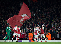 Danny Welbeck of Arsenal celebrates scoring the equalising goal during the UEFA Europa League round of 16 2nd leg match between Arsenal and AC Milan at the Emirates Stadium, London, England on 15 March 2018. Photo by Vince  Mignott / PRiME Media Images.