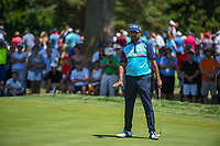 Anirban Lahiri (IND) watches his putt on 7 during 3rd round of the World Golf Championships - Bridgestone Invitational, at the Firestone Country Club, Akron, Ohio. 8/4/2018.<br /> Picture: Golffile | Ken Murray<br /> <br /> <br /> All photo usage must carry mandatory copyright credit (© Golffile | Ken Murray)