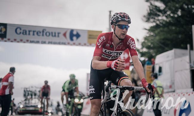 Tim Wellens (BEL/Lotto-Soudal) about to grab a last bidon up the Mur de P&eacute;gu&egrave;re (Cat1/1375m/9.3km/7.9%)<br /> <br /> 104th Tour de France 2017<br /> Stage 13 - Saint-Girons &rsaquo; Foix (100km)