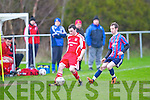 Dingle Bay Rovers Patrick Neylon and Carndonogh FC's Conor Doherty...
