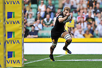 Joe Launchbury celebrates as he runs in the opening try of the match. Aviva Premiership Double Header match, between London Wasps and Harlequins on September 7, 2013 at Twickenham Stadium in London, England. Photo by: Patrick Khachfe / Onside Images