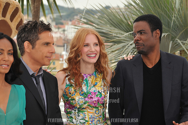 "Jada Pinkett Smith, Ben Stiller, Jessica Chastain & Chris Rock at the photocall for their new movie ""Madagascar 3: Europe's Most Wanted"", showing out-of-competition at the 65th Festival de Cannes..May 18, 2012  Cannes, France.Picture: Paul Smith / Featureflash"