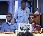 "(Left-right) Dr.  A.J. Williams-Myers, Pierre Leroy and Dr. Airy Dixon, at the speaker's table at the ""An Evening of Real History"" event, at the A.J. Williams-Myers African Roots Center, in Kingston, NY, on Saturday, July 29, 2017. Photo by Jim Peppler. Copyright/Jim Peppler-2017."