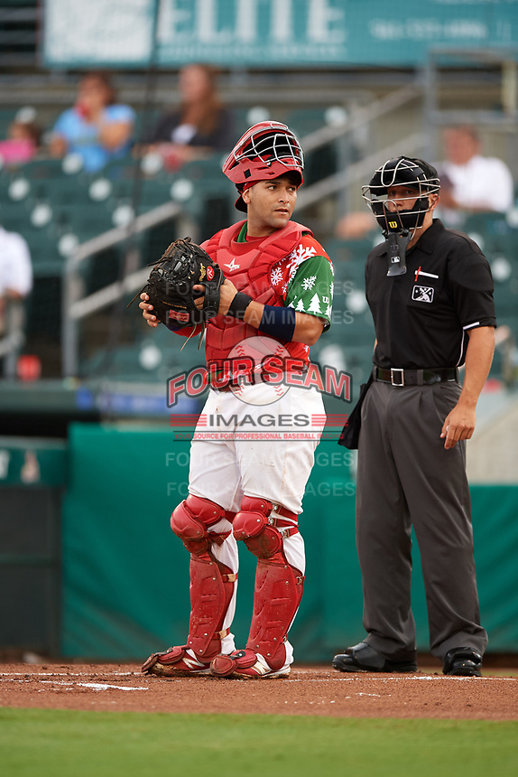 "Palm Beach Cardinals catcher Jose Godoy (27) looks into the dugout in front of home plate umpire Brandon Mooney during a game against the Charlotte Stone Crabs on July 22, 2017 at Roger Dean Stadium in Palm Beach, Florida.  The Cardinals wore special ""Ugly Sweater"" jerseys for Christmas in July.  Charlotte defeated Palm Beach 5-2.  (Mike Janes/Four Seam Images)"