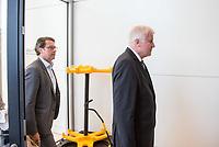 Bundesverkehrsminister Andreas Scheuer (links im Bild) und Innenminister Horst Seehofer (rechts), beide CSU, nach waehrend einer ausserordentlichen Sitzung der CDU/CSU-Fraktion nachdem es zwischen der CDU und der CSU zum Streit ueber den Umgang mit Fluechtlingen gab. Die Sitzung des Deutschen Bundestag wurde aufgrund dieses Streit auf Antrag der CDU/CSU-Fraktion fuer mehrere Stunden unterbrochen. Die Fraktionen von CDU und CSU tagten getrennt.<br /> 14.6.2018, Berlin<br /> Copyright: Christian-Ditsch.de<br /> [Inhaltsveraendernde Manipulation des Fotos nur nach ausdruecklicher Genehmigung des Fotografen. Vereinbarungen ueber Abtretung von Persoenlichkeitsrechten/Model Release der abgebildeten Person/Personen liegen nicht vor. NO MODEL RELEASE! Nur fuer Redaktionelle Zwecke. Don't publish without copyright Christian-Ditsch.de, Veroeffentlichung nur mit Fotografennennung, sowie gegen Honorar, MwSt. und Beleg. Konto: I N G - D i B a, IBAN DE58500105175400192269, BIC INGDDEFFXXX, Kontakt: post@christian-ditsch.de<br /> Bei der Bearbeitung der Dateiinformationen darf die Urheberkennzeichnung in den EXIF- und  IPTC-Daten nicht entfernt werden, diese sind in digitalen Medien nach &szlig;95c UrhG rechtlich geschuetzt. Der Urhebervermerk wird gemaess &szlig;13 UrhG verlangt.]
