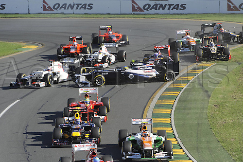 18 03 2012 Melbourne, Australia.   Start of the Australian Grand Prix where an accident involving Bruno Senna BRA AT Williams No 19 took him out of the race