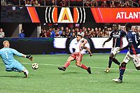 Atlanta, Georgia - Wednesday September 13, 2017: Atlanta United defeated the New England Revolution, 7-0, in Mercedes Benz Stadium, in front of a sellout crowd of 42,511, extending the team's home unbeaten streak to eight matches.