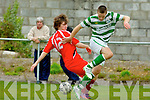 Adam Piggot Tralee Dynamos and Donal Brannigan Shamrock Rovers in action in Tralee on Sunday..