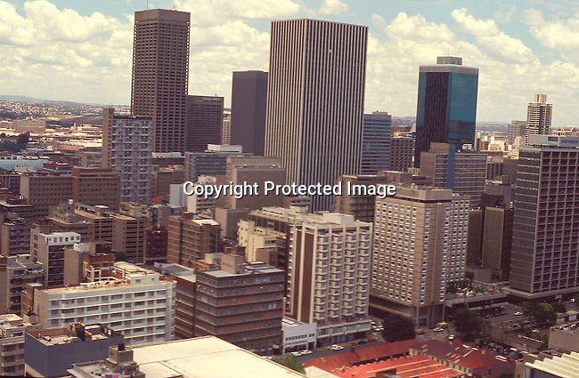 SPGAJHB01074.South Africa. Gauteng. Johannesburg. Yeoville. A view of downtown as seen from above high. Skyscrapers, Johannesburg skyline. .©Per-Anders Pettersson/iAfrika Photos
