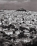 GREECE, Athens, elevated view of the city from the Acropolis with Mount Lycabettos and the neighborhood of Kolonaki in the distance (B&W)