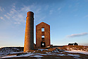 Magpie Mine, an abandoned lead mine, in morning light. Peak District National Park, Derbyshire, UK. March.