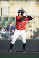 Justin Yurchak (33) of the Kannapolis Intimidators at bat against the Lakewood BlueClaws at Kannapolis Intimidators Stadium on April 5, 2018 in Kannapolis, North Carolina.  The Intimidators defeated the BlueClaws 4-3.  (Brian Westerholt/Four Seam Images)
