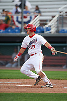 Auburn Doubledays first baseman Chance Shepard (23) at bat during the second game of a doubleheader against the Mahoning Valley Scrappers on July 2, 2017 at Falcon Park in Auburn, New York.  Mahoning Valley defeated Auburn 3-2.  (Mike Janes/Four Seam Images)