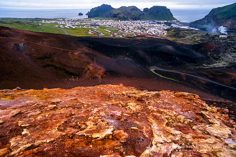 Vestmannaeyjar Islands off the south coast of Iceland. Eldfell on Heimaey was formed in a volcanic eruption in 1973.