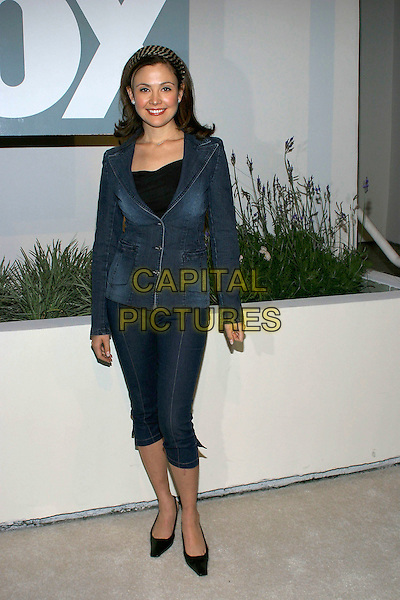"REIKO AYLESWORTH.Fox TV ""White Hot Winter"" Network Party at Meson G Restaurant, Los Angeles, California, USA, .17th January 2005..full length denim jean jacket cropped trousers.Ref: ADM.www.capitalpictures.com.sales@capitalpictures.com.©Jacqui Wong/AdMedia/Capital Pictures .."